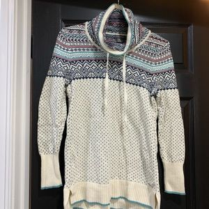 EDDIE BAUER Fair Isle Cowl Neck Sweater small SOFT